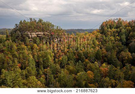 Fall color in Kentucky at Natural Bridge State Resort Park.