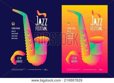 Jazz music festival poster design template with gradient stylized saxophone. Vector illustration flyer for jazz concert.