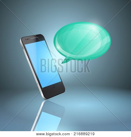 Mobile phone with glossy speech bubble. EPS10 vector.