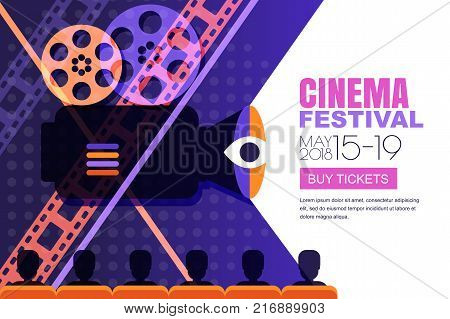 Vector Cinema Festival Poster, Banner Background. Sale Cinema Theatre Tickets, Movie Time And Entert