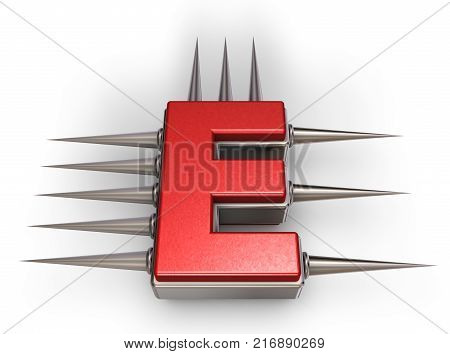 letter e with metal prickles on white background - 3d illustration