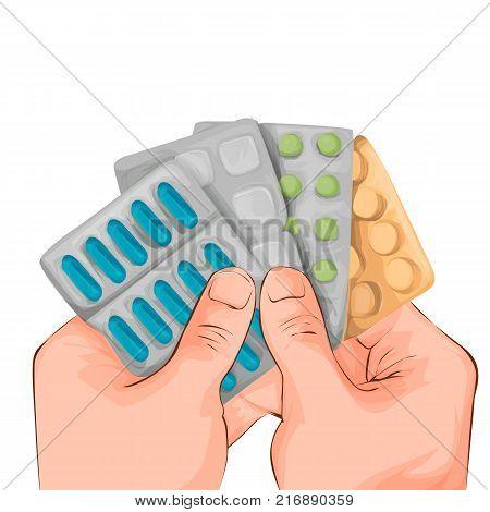 Medicine pills, pharmaceutical antibiotics drugs vector. olor pills, illustration of antibiotic and vitamin