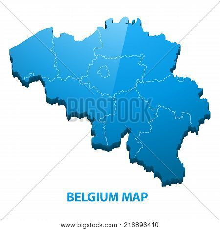 Highly detailed three dimensional map of Belgium with regions border