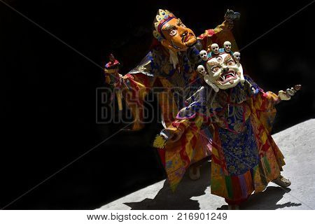 Tibetan mystical Dance of Masks, dance of lamas of high tantric satellites in masks. Spirits of the terrain.