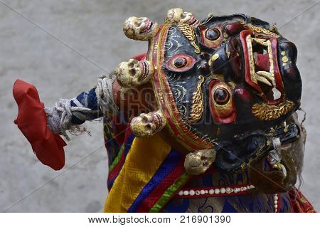 Ancient Tibetan sacral mask for a ritual Buddhist ceremony.