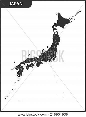 The detailed map of the Japan with regions.