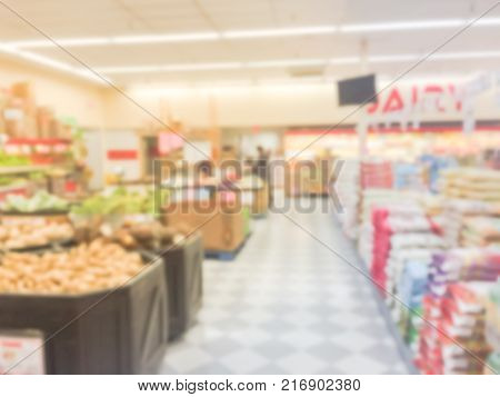 Blurred Abstract Of Fresh Produces, Fruits, Vegetable On Shelves In Asian Supermarket
