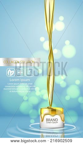 Closeup Collagen Emulsion in Water. Vector Illustration. Gold Serum Droplets. Concept for Cosmetics, Beauty and Spa Brochure or Flyer. 3d splash of liquid oil. Splashing argan oil