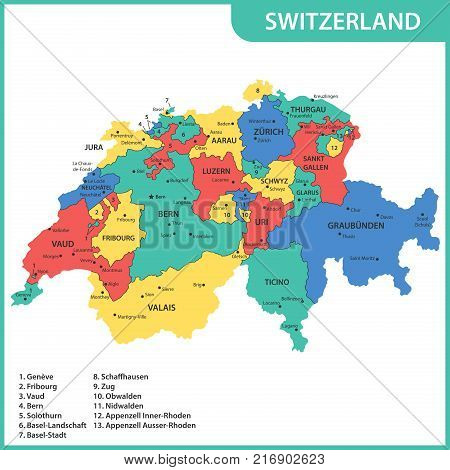 The detailed map of the Switzerland with regions or states and cities, capitals