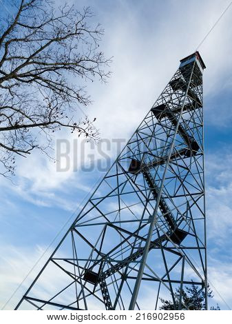 Fire tower ascending to the sky in blount county alablama
