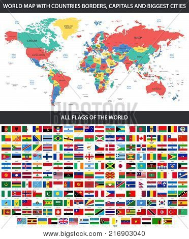 All flags world vector photo free trial bigstock all flags of the world in alphabetical order and detailed world map with borders countries gumiabroncs Image collections