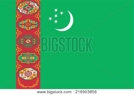 National flag of Turkmenistan. Vector illustration, template