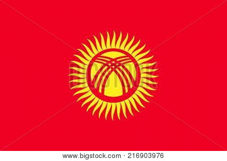 National flag of Kyrgyzstan. Vector illustration, template