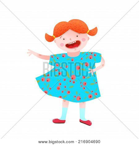 Childish girlish mascot happy and cheerful vivid colors. Vector illustration.