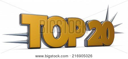 top 20 symbol with prickles on white background - 3d rendering