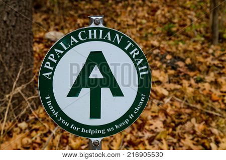 Port Clinton PA USA - December 3 2017: The Appalachian Trail sign near the Schuylkill River.