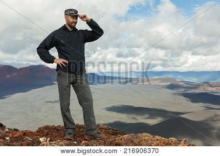 Tourist at the top of Hiking trail climb to the North Breakthrough Great Tolbachik Fissure Eruption 1975