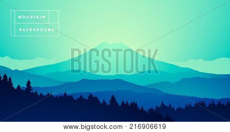 Vector illustration of a mountain peak with misty pine forest, gradient