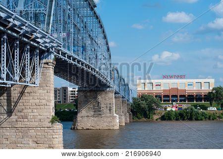 CINCINNATI, OHIO - JULY 14, 2017: Newport Kentucky-Cincinnati,Ohio, River view of Newport Kentucky from Cincinnati ,Ohio with purple people bridge on the left.