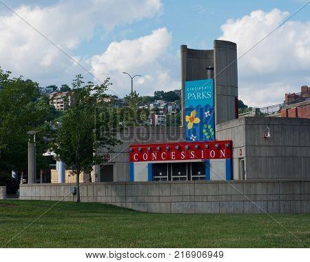 CINCINNATI, OHIO - JULY 14, 2017: Cincinnati Parks, Concession Stand