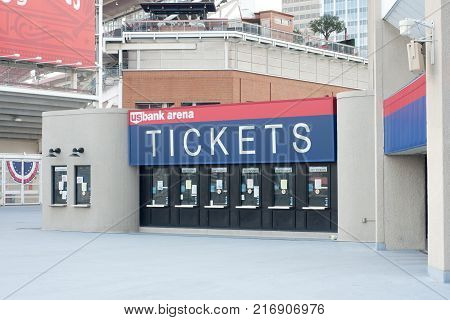 CINCINNATI, OHIO - JULY 14, 2017: US Bank Arena, Ticket booth