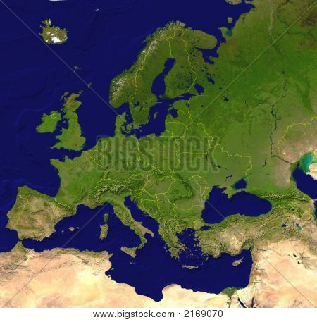 European Map (A Satellite View) With Borderlines, Capitals And Big Cities
