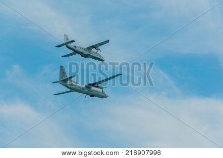 Pattaya Thailand - November 9 2017 Two warplane flying to support fleet review on the 50th anniversary ASEAN international fleet review 2017 drill in Pattaya Thailand