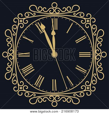 Golden clock for new year and christmas design. vitage style, old Retro dial with roman numbers. vector