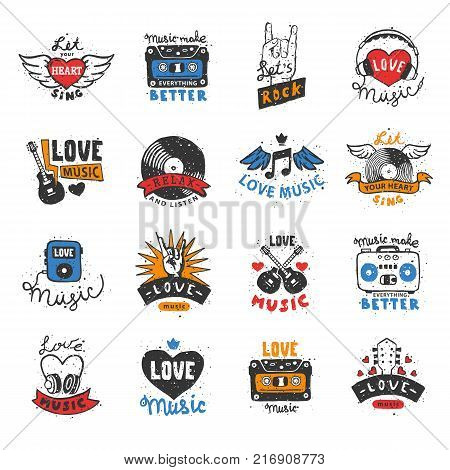 Music love heart logo vector musical heartbeat song dj lover sound beat logotype audio tape symbol illustration isolated on white background.