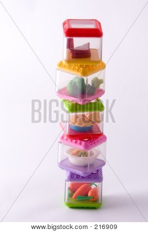 staked play food containers poster