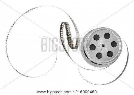 Old film strip on reel isolated on white background. Top view. Copy space