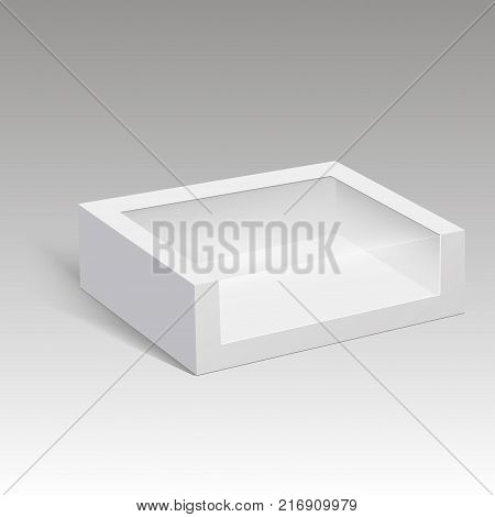 Blank paper box packaging for sandwich, food, gift or other products with plastic window. Vector illustration
