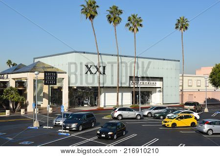 COSTA MESA, CA - DEC 1, 2017: XXI Forever at South Coast Plaza. Forever 21 is a chain for the latest fads in clothes, accessories and shoes for young women.