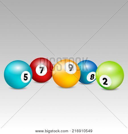 Bingo lottery balls. Vector lottery number balls set colorful. Vector illustration.