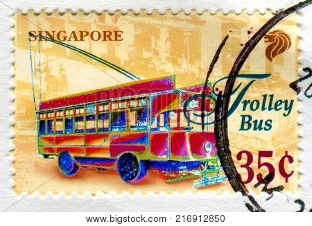 GOMEL, BELARUS, 3 DECEMBER 2017, Stamp printed in Singapore shows image of the Trolley Bus, circa 2017.