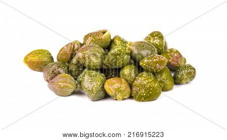 Capers isolated on white background. Pickled capers. Canned capers.