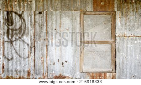 image of Old galvanized steel wall background
