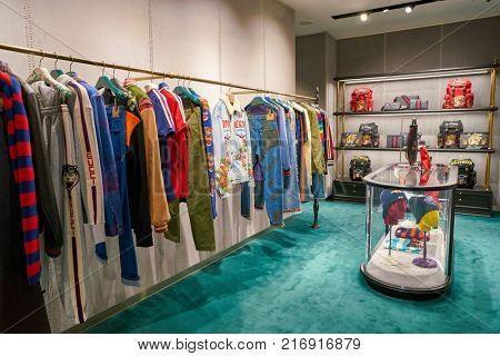 ROME, ITALY - CIRCA NOVEMBER, 2017: Gucci clothing on display at a second flagship store of Rinascente in Rome.