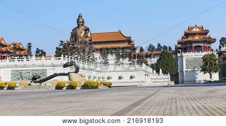 Laozi Statue In Yuanxuan Taoist Temple Guangzhou, China