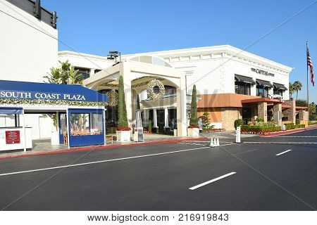 COSTA MESA CA - DEC 1 2017: Capital Grille South Coast Plaza amnd valet parking. The upscale steakhouse chain offers classic American fare and a clubby refined setting.