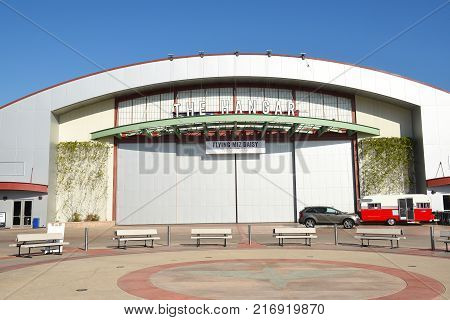 COSTA MESA CA - DEC 1 2017: The Hangar at the OC Fair and Event Center. The renovated airplane hangar hosts concerts and events throught the year.