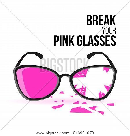 Glasses With Black Frames And Rose Lenses. Broken Pink Glasses. Ruined Into Small Sharp Pieces. Isolated On White Background. Vector Illustration