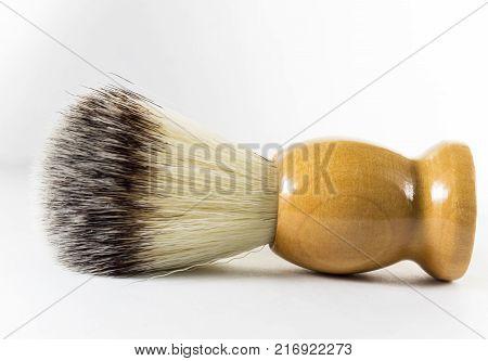 Shaving brush on white background, isolated, men