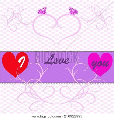Declaration of Love Postcard with a declaration of love with hearts and butterflies on a gentle pink background