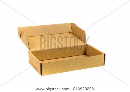 Brown Tray Or Brown Paper Package Or Cardboard Box Isolated With Soft Shadow.