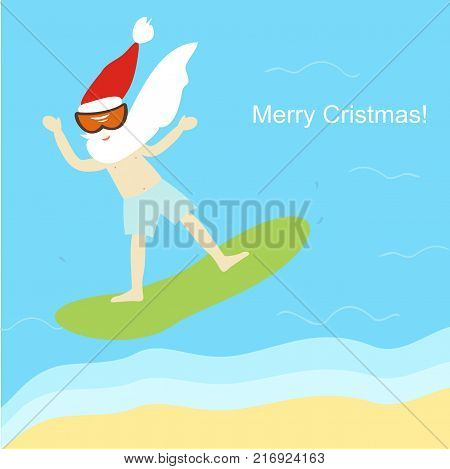 Santa Claus on Windsurfing in the sea. Happy New Year and Merry Christmas! Greeting card. Vector illustration.