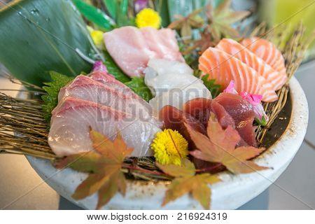 Japanese sashimi or fresh fish mixed set in white blow