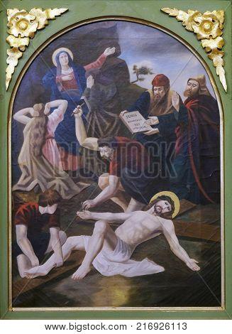 STITAR, CROATIA - NOVEMBER 11: 11th Stations of the Cross, Crucifixion, church of Saint Matthew in Stitar, Croatia on November 11, 2016.