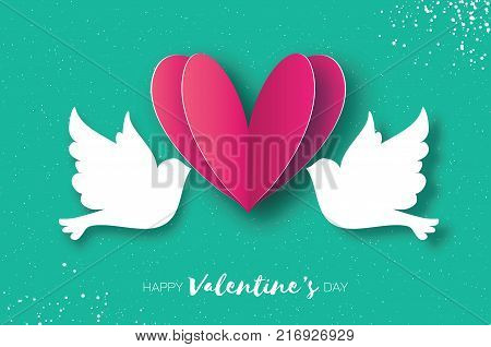 Origami Happy Valentine's day greeting card. Flying Love Birds in paper cut style. A couple of doves in loving. Romantic Pink heart. Two white pigeons kissing. Vector