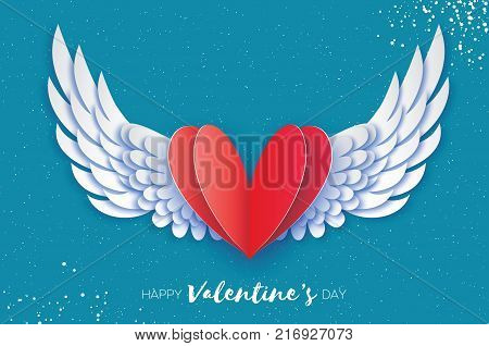 Happy Valentine's Day Greetings card. Origami angel wings and romantic red heart. Love. Winged heart in paper cut style. Blue sky background. Vector